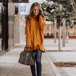 Sweaters - Oversized mustard turtleneck slouchy sweater tops